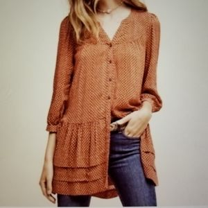 Anthropologie Holding Horses Pavin Tunic Top Rust